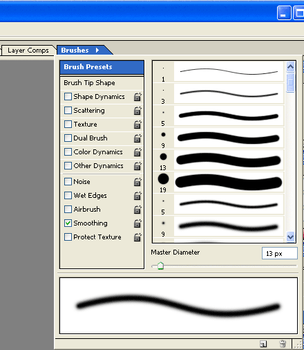 Picture of the Brush Palette